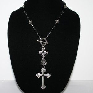 Black and silver toggle Cross necklace 24""